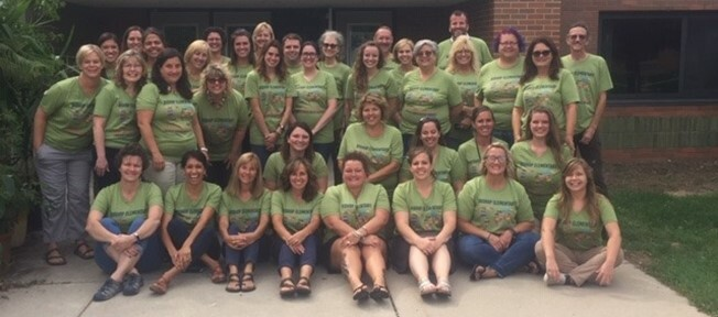 The 2019-2020 Bishop Elementary School staff outside of Bishop Elementary School