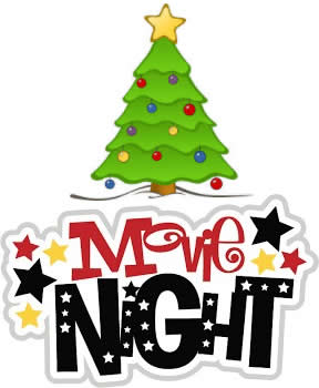 Movie Night banner with Christmas tree