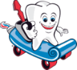 Tooth on a skateboard for mobile dentist