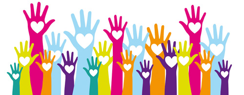 hands up ready to volunteer - each hand has a heart in it.